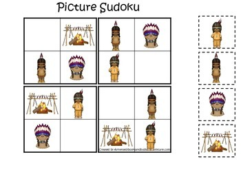 Native American Plains Indians themed Picture Sudoku presc