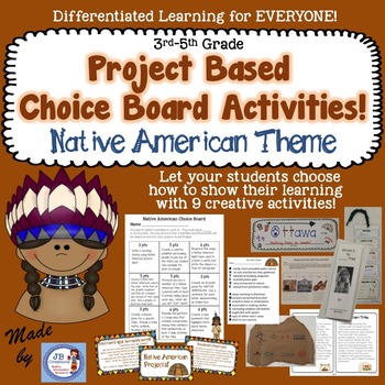 Native American Project Based Choice Board for 4th and 5th