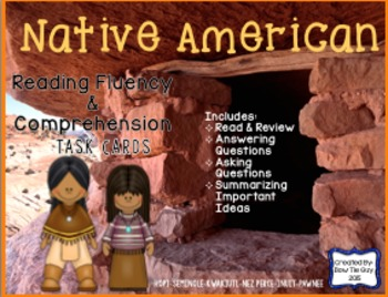 Native American Reading Comprehension & Fluency Task Cards