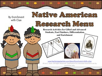 Native American Research Menu for Gifted, Enrichment and D