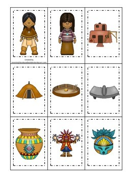 Native American South West Indians theme Memory Matching p