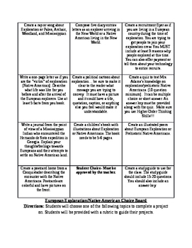 Native American and European Exploration Projects: Choice Boards