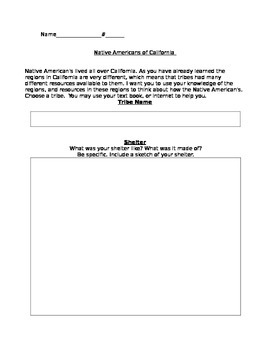 Native Americans-Graphic Organizer