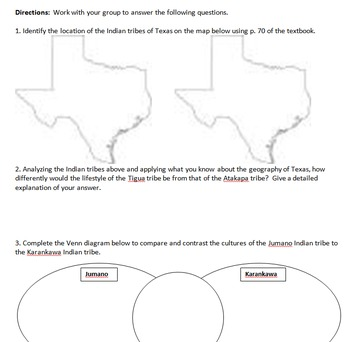 Native Americans Compare/Contrast worksheet with Map