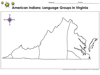 Native Americans: Language Groups in Virginia Map - 1600s
