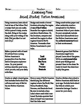 Native Americans Learning Menu