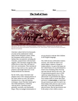 Native Americans: The Trail of Tears reading, questions, m