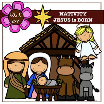 Nativity - JESUS is BORN Digital Clipart (color and black&white)