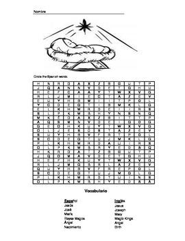 Nativity - Spanish Word Search & Answer Key - 1st - 3rd
