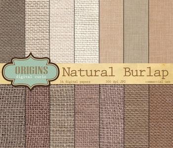 Natural Burlap Digital Paper, scrapbook texture printable