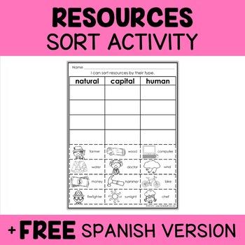 Natural, Capital and Human Resources Sorting Activity