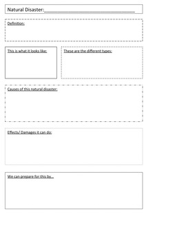 Natural Disasters Graphic Organizer