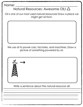 Natural Resources- Oil worksheet