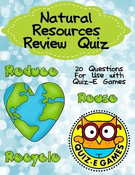 Natural Resources Review for Third Grade for Use in Quiz-E