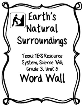 Natural Resources on our Earth...Grade 3 TEKS Word Wall..C