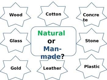 Natural or man-made materials (classifying materials and e