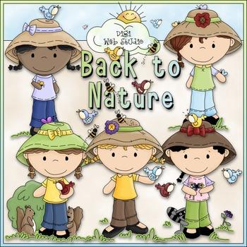 Nature Girls Clip Art 1 - Nature Clip Art - CU Clip Art & B&W