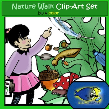 """Nature Walk"" 32 pc. Clip-Art Set ( 16 BW and  16 Color)"