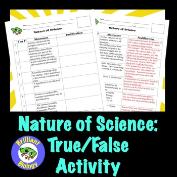 Nature of Science: True/False Activity