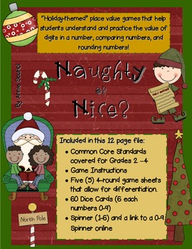 Naughty or Nice: A Holiday Themed Place Value Math Game Co