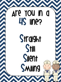 Nautical Chevron 4S Line Poster