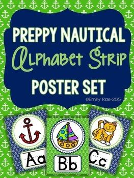 Nautical Alphabet Strip - Preppy Navy and Green
