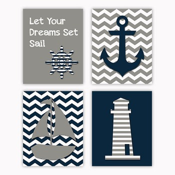 Nautical Art in Gray and Navy Blue - Printable Wall Art -