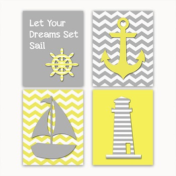Nautical Art in Gray and Yellow - Printable Wall Art - Inc