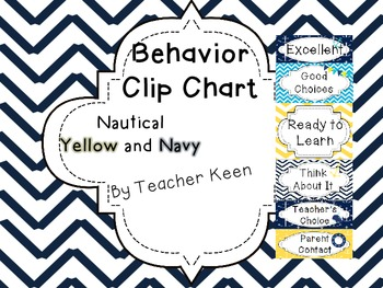 Nautical Behavior Clip Chart in yellow and navy