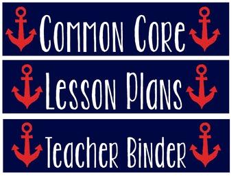 Nautical Binder Spines- Classroom Binders