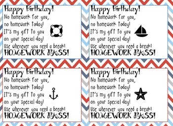 Nautical Birthday Homework Pass