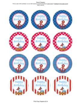 Nautical Birthday Pencil Toppers