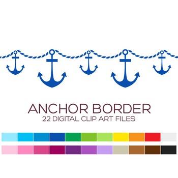 Nautical Border Clipart - 22 digital anchor borders / 8x1
