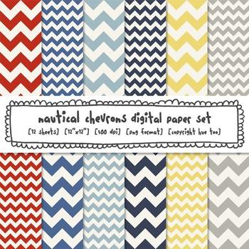Nautical Chevron Digital Paper, Red, Yellow, Navy Blue, Gr