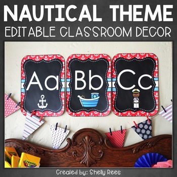 Nautical Classroom Decor EDITABLE - Labels, Tags, Nameplat