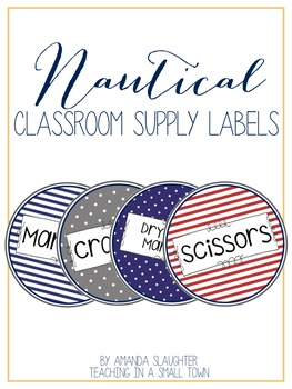 Nautical Classroom Supply Labels- Round