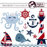 Nautical Clip Art, Sailboat, Anchor, Lighthouse, Whale, St