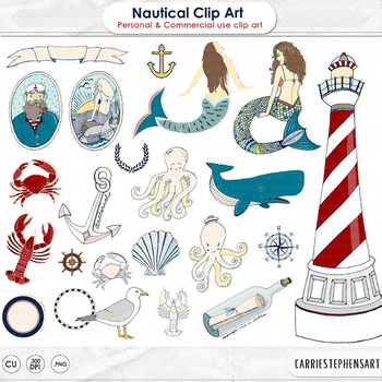 Nautical Clip Art, Mermaid, Crab, Ocean Life Clipart, Sail