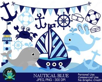 Boy Nautical Sailing Set (Upzaz Digital Clipart)