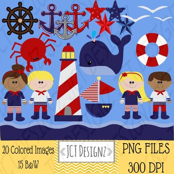 Nautical Clipart: Nautical clip art, anchor, lighthouse,wh