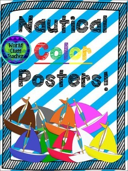Nautical Color Posters with Striped Background