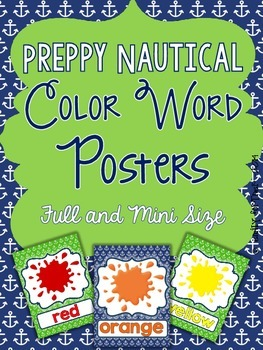 Nautical Color Posters - Preppy Navy and Green