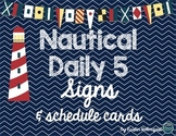 Nautical Daily 5 Signs & Rotation Schedule Cards