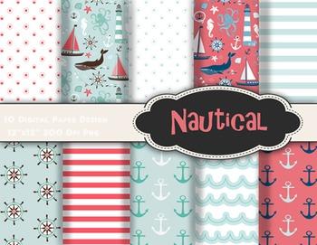 Nautical Digital Paper Sailing Scrapbook Paper sea sailboa