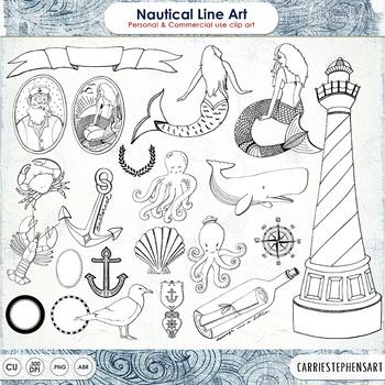 Nautical Digital Stamps - Outlines & Brushes - Sea Creatur