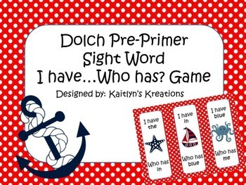 Nautical Dolch PREPRIMER I have Who has Game