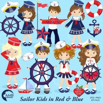 Nautical Clipart, Sailor Clipart in red and blue, Coastal