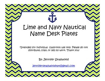 Nautical Lime and Navy Name Desk Plates