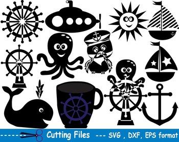 Nautical Navy EPS SVG DXF school teachers cutting cut part