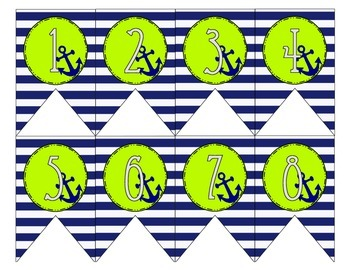 Nautical Navy and Lime Classroom Numbers
